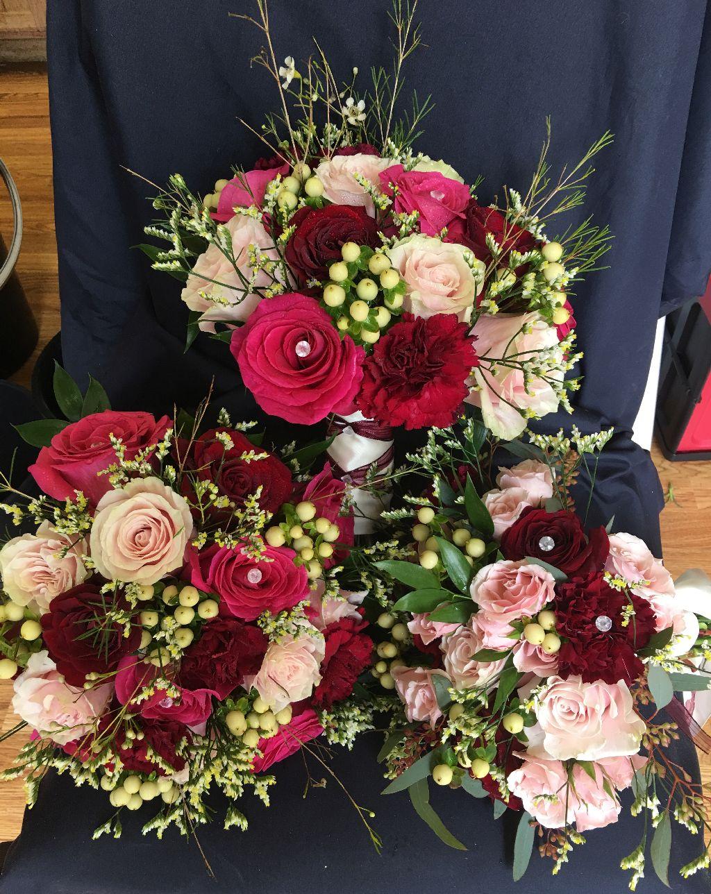 mixed rose table display galveston