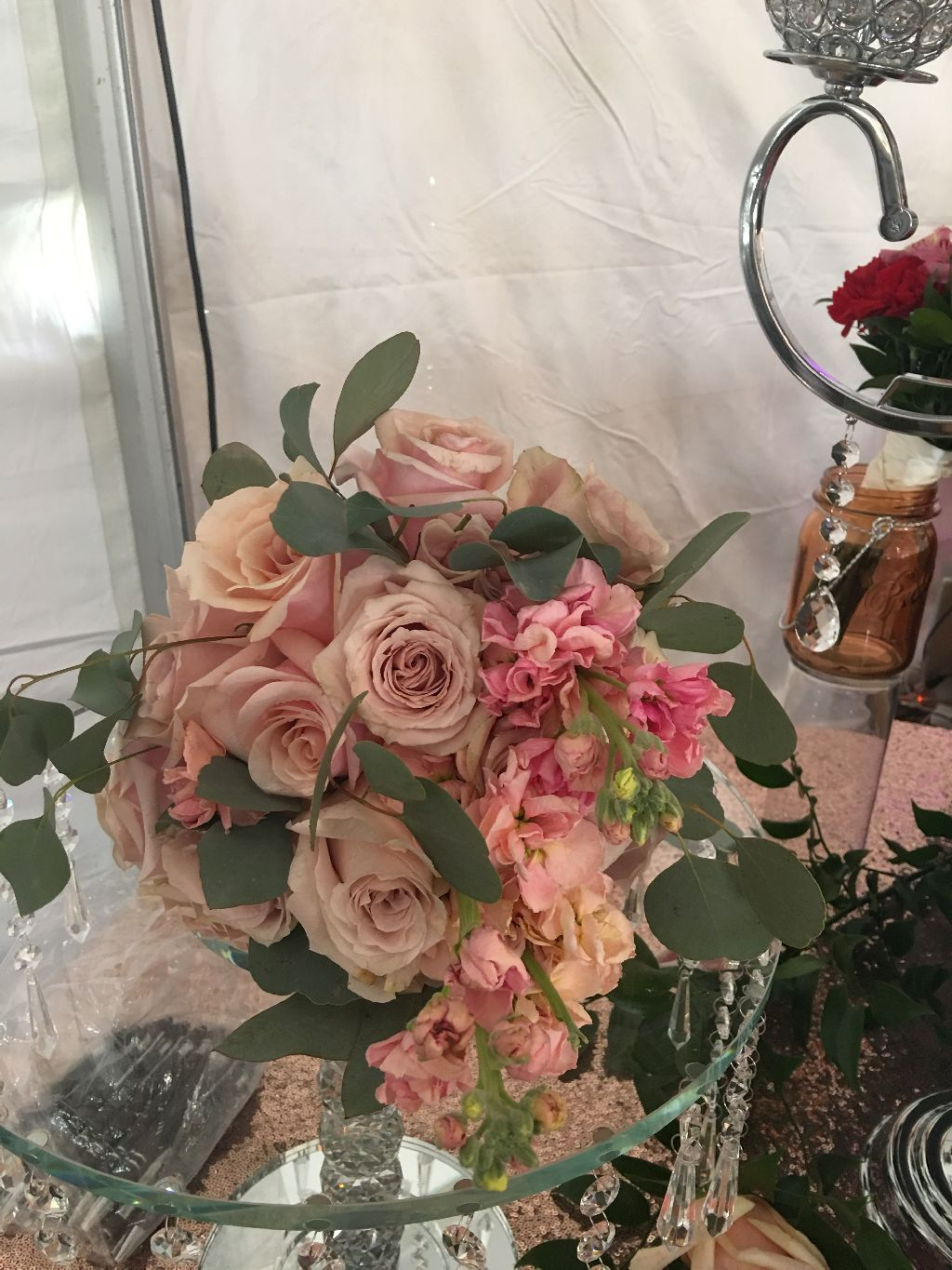 pink rose table centerpiece